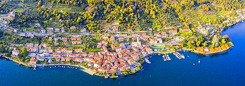 Aerial view of Sala Comacina, Lake Como, Lombardy, Italian Lakes, Italy, Europe