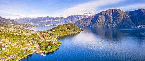 Aerial view of Tremezzina villages in autumn, Lake Como, Lombardy, Italian Lakes, Italy, Europe