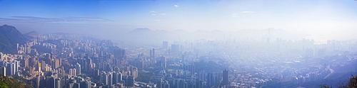 Panoramic view of Kowloon and Hong Kong city from the Lion Rock mountain peak, Hong Kong, China, Asia