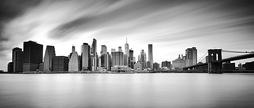 Lower Manhattan skyline and Brooklyn Bridge, New York City, New York, United States of America, North America