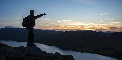 Looking over Ullswater from the summit of Hallin Fell at sunset, Lake District National Park, UNESCO World Heritage Site, Cumbria, England, United Kingdom, Europe - 1287-72