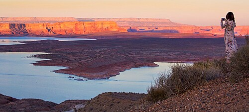 View over Antelope Island from Wahweap Overlook, sunset, Lake Powell, Glen Canyon National Recreation Area, Page, Arizona, United States of America, North America