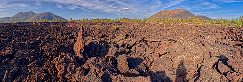 Panorama view of O'Leary Peak on the left and Sunset Crater on the right from the Bonito Lava Field near Flagstaff, Arizona, United States of America, North America