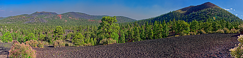 Super Pan view of the Cinder Hills on left and the eastside of Sunset Crater on the right, near Flagstaff, Arizona, United States of America, North America