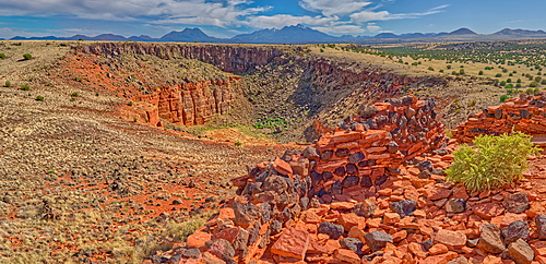 Panorama of the San Francisco Peaks north of Flagstaff, viewed from the Citadel Ruins in Wupatki National Monument, Arizona, United States of America, North America