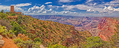 View of the Grand Canyon east of the historic Watch Tower, managed by the National Park Service, Grand Canyon National Park, UNESCO World Heritage Site, Arizona, United States of America, North America