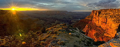 Grand Canyon viewed west of Moran Point at sunset with an approaching storm on the right, Arizona, United States of America, North America