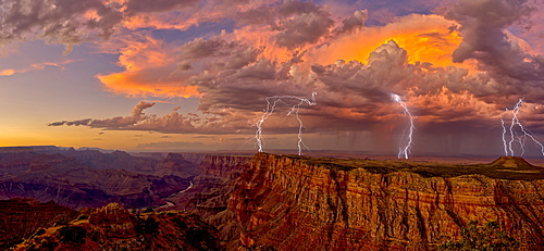 An evening thunderstorm approaching the Grand Canyon in Arizona, viewed from the Desert View Vista, Grand Canyon National Park, UNESCO World Heritage Site, Arizona, United States of America, North America