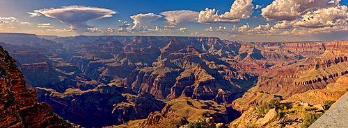 Panorama of the Grand Canyon just east of Zuni Point on the south rim with haze from smoke from a wildfire on the north rim, Grand Canyon National Park, UNESCO World Heritage Site, Arizona, United States of America, North America