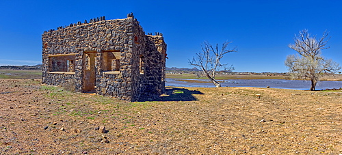 The ruins of a stone house built in the 1930s as part of a WPA Project in Paulden, abandoned at the start of WWII, Arizona, United States of America, North America