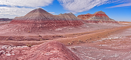 Hills of Bentonite Clay called Teepees at the start of the Blue Forest Trail in Petrified Forest National Park, Arizona, United States of America, North America