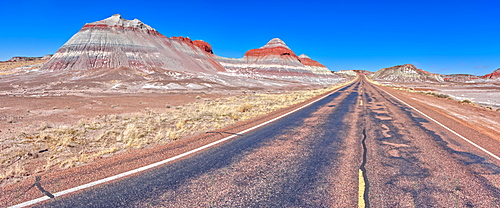 Formation in the Petrified Forest National Park called a Teepee viewed from the main road that runs through the park, Arizona, United States of America, North America