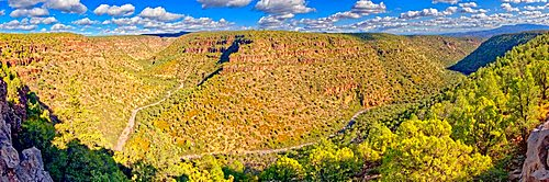 Panorama of Upper Bear Canyon near Drake Arizona in the Prescott National Forest.