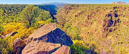 Panorama of Rattlesnake Canyon southeast of Sedona in the Wet Beaver Wilderness of Arizona.