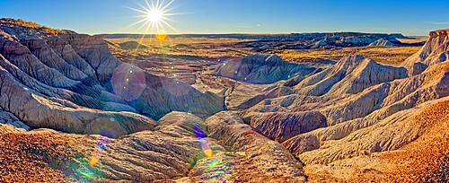 Panorama of the setting sun at the First Forest in Petrified Forest National Park, Arizona, United States of America, North America