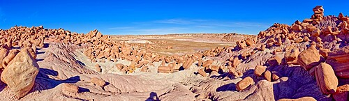 Panorama of a valley that is the Gateway to the Devil's Playground in Petrified Forest National Park, Arizona, United States of America, North America
