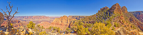 Panorama view of Grand Canyon from the bow of the Sinking Ship rock formation, Grand Canyon National Park, UNESCO World Heritage Site, Arizona, United States of America, North America