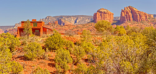 House of Apache Fires in Red Rock State Park with Cathedral Rock in the background, Sedona, Arizona, United States of America, North America