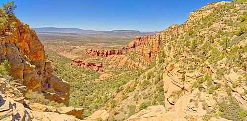 Western view of Sedona Arizona from the saddle section of Bear Mountain just past the 1st Peak. True Peak is on upper right.