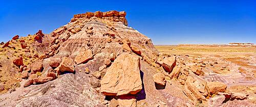 The northeast side of Keyhole Mesa in the First Forest of Petrified Forest National Park, Arizona, United States of America, North America