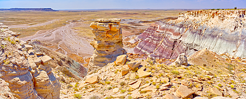 A pillar of sandstone on the west side of Agate Plateau in Petrified Forest National Park Arizona.