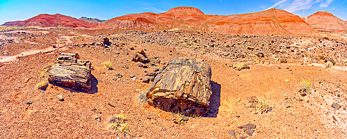Hills of blood red bentonite clay below Kachina Point in Petrified Forest National Park, Arizona, United States of America, North America