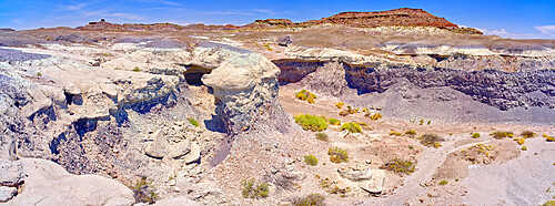 A dry waterfall made of purple bentonite in the Flat Tops of Petrified Forest National Park Arizona.