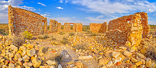 The crumbling stone walls of a derelict building in the ghost town of Two Guns, Arizona, United States of America, North America
