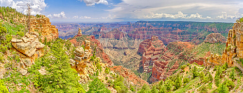 Point Imperial view from Ken Patrick Trail at Grand Canyon North Rim with Mount Hayden the pointed peak left of center, Arizona, United States of America, North America