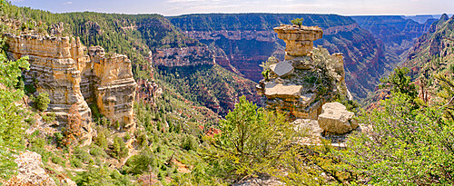 Tabletop Rock on the cliffs of the Transept Canyon at Grand Canyon North Rim along the Widforss Trail.