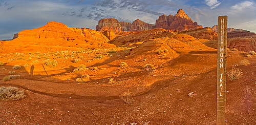 Sign marking the historic Honeymoon Trail in the 7 Mile Draw area of the Vermilion Cliffs National Monument Arizona.