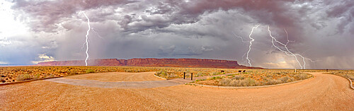 Lightning storm rolling into Vermilion Cliffs National Monument Arizona. Viewed from Dominguez Escalante Historical Trailhead.