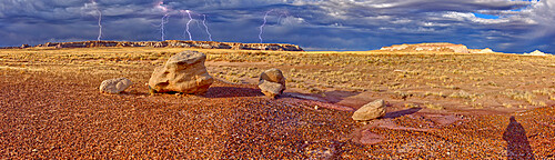 Large storm approaching Blue Mesa in Petrified Forest National Park, viewed from the Red Basin Trail, near Holbrook, Arizona, United States of America, North America