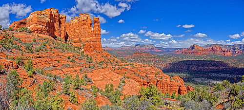 Panorama of Sedona viewed from the secret trail that runs along the eastern side of Cathedral Rock, Sedona, Arizona, United States of America, North America