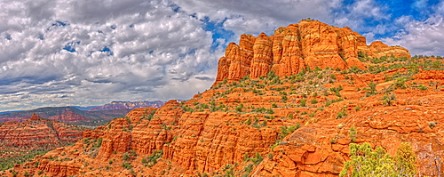 Panorama of Cathedral Rock from the south side just off the HiLine Trail, Sedona, Arizona, United States of America, North America