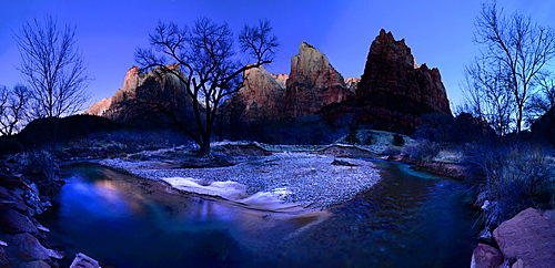Virgin River flowing through Court of the Patriarchs, Zion National Park, Utah, United States of America, North America