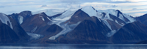 Glacier carved mountain range, Nunavut and Northwest Territories, Canada, North America