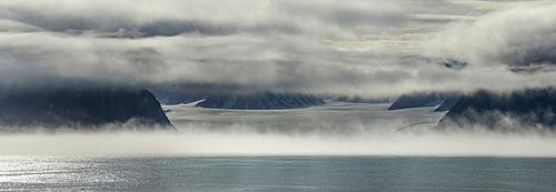 Panorama image of glacier terminus, Nunavut and Northwest Territories, Canada, North America