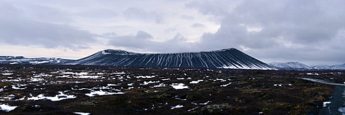Panorama image of Hverfjall crater, Iceland, Polar Regions