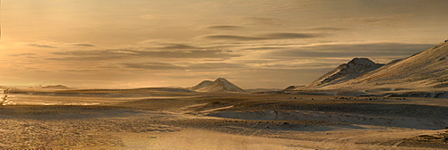 Panorama image of mountains near the Modrudalur Ranch, Iceland, Polar Regions