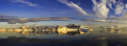 Panorama of mountains and lenticular clouds, Antarctica, Polar Regions