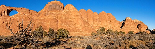 Panorama of Skyline Arch, Arches National Park, Utah, United States of America, North America