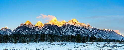 Panorama of Teton Range at first light, Grand Teton National Park, Wyoming, United States of America, North America