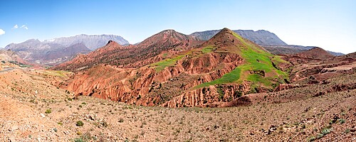 Panoramic of badland rock formation in mountains in Morocco, North Africa, Africa