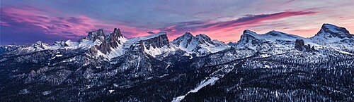 Panoramic at sunset of Dolomites of Cortina d'Ampezzo covered by snow, Croda da Lago, Pelmo, Five Towers (Cinque Torri), Trentino-Alto Adige, Italy, Europe