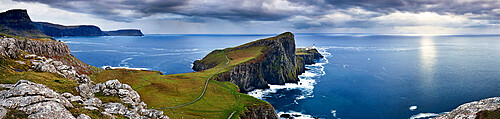 Panoramic on the coast of the isle of Skye and Nest Point promontory, Scotland, United Kingdom