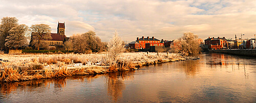 A frosted river at sunrise in the town of Galway, County Galway, Connacht, Republic of Ireland, Europe