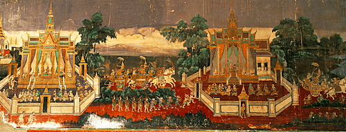 Mural of the Ramayana on wall of the Royal Palace, Phnom Penh, Cambodia, Southeast Asia, Asia