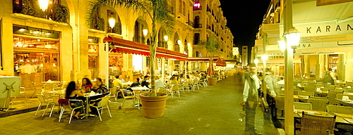 Outdoor restaurants at night in downtown area of Central District, Beirut, Lebanon, Middle East