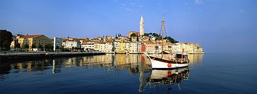 Old town houses and cathedral of St. Euphemia, Rovinj, Istria, Croatia, Europe